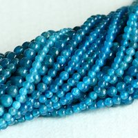 """Wholesale 5mm Gemstone Beads - AAA High Quality Clear Natural Genuine Blue Apatite Phosphorite Round Loose Gemstone Beads 4mm 5mm 6mm16"""" 05021"""