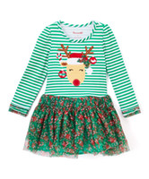 Wholesale Green Derss - green reindeer long sleeve derss christmas kids baby autumn Xmas suits toddler lace floral dress child girls striped dresses