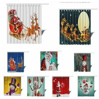 Wholesale Wholesale Curtain Fabric - 3D Winter Holiday Merry Christmas Happy Shower Curtain Waterproof Polyester Fabric Bath Curtain 20 design 150*180cm LJJK767