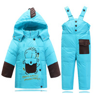 Wholesale Snowsuit For Baby Boys - Wholesale- Baby Boy clothing set winter kid Coat + Overalls Winter Suit For Girls Cartoon Dinosaure Baby Snowsuit Warm child Clothing Sets