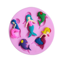 Wholesale Lovely Soap Mold - Hot Selling Lovely Mermaid & dolphin shape Fondant 3D Molds, Silicone Mold ,Soap, Candle Moulds, Sugar Craft tools, Chocolate Moulds