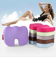 Wholesale Massage Buttock - Beauty Buttocks Massage Cushion Memory Sponge U Seat Cushion Slow Rebound Office Chair Pad Back Pain Sciatica Relief Pillow 9 Colors OOA3005