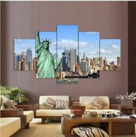 Top Fashion 5panels Pinturas Sobre Lienzo Print Estatua de la Libertad Pintura Wall Art Picture Home Decor Living Room Backdrop