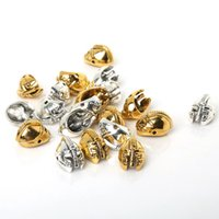Wholesale Antique Solid Silver - Wholesale- Vintage Antique Gold Silver Plated Solid Metal Sparta Helmets Masks beads Bracelet Connector Charms 10Pcs Pack for fashion DIY