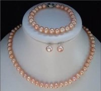 Wholesale Gold Plated Natural Pearl Bracelet - 7-8MM Natural Pink Akoya Cultured Pearl bracelets necklace earrings Jewelry set