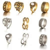 Wholesale Turkish Jewellery Wholesale - 5pcs Set Turkish Ring Sets Midi Knuckle Ring For Women 2017 Gold Silver Retro Metal Flower Vintage Rings Boho Jewellery Free DHL D28S
