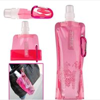 Wholesale Wholesale 16oz Bottles - 20pcs Portable Folding Foldable Water Bottle Travel Travelling Buckle Outdoor Sport Bag Hiking Tour Climbing Camping 480ml(16oz)