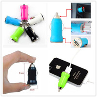 Wholesale Mini Ipad Car Micro Adapter - Micro USB Car Charger Colorful Bullet Mini Car Charger Portable Charger Universal Adapter For iPhone 7 7 plus Samsung s8 s8 plus iPad