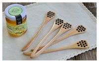 Wholesale Stir Spoon - 2017 Hot Cute Wood Creative Carving Honey Stirring Honey Spoons Honeycomb Carved Honey Dipper Kitchen Tool Flatware Accessory