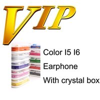 Wholesale Earphones I5 - With Crystal box Colorful Earphones Headset with Mic In-ear Headphone Earbuds for I5 I6 Samsung Galaxy Headphones MP3 MP4