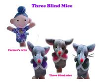 Wholesale Nursery Rhyme Plush Toys - 4pcs set lot, Nursery rhyme finger puppets - Three blind mice, plush finger puppets, Educational toys,(4pcs poly bag)second