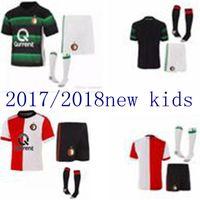 Wholesale Thai Soccer Shirts Free Shipping - top thai 2017 2018new Feyenoord kids+sock kit home red soccer jerseys children football shirts 17-18 boys youth shirt kits free shipping