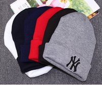 Wholesale Ny Cap Color - 2016 new fashion NY skulls beanie women men Lovers thickening Head kniting hats spring winter sport Boy caps Multi color 10pcs