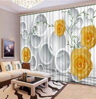 Wholesale Custom Living Room Curtains - Home Decor Living Room Natural Art window curtain living room yellow roses flower custom curtain