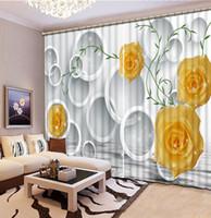 Wholesale Custom Kitchen Curtains - Home Decor Living Room Natural Art window curtain living room yellow roses flower custom curtain