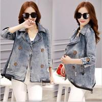 Wholesale Ladies Short Top Jeans Jacket - Wholesale- Good Quality New Arrival 2016 Autumn Vintage Women Denim Jackets Tops Light Blue Casual Loose Jeans Lady Outwear S-3XL J10-1