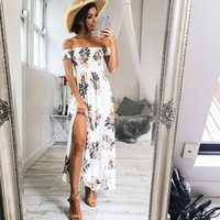 robes florales d'été en forme de plage achat en gros de-Nadafair Fit et Flare Side Split Off The Shoulder Floral Print Femmes Summer Bohemian Dress 2017 New Casual Beach Long Dress q170713