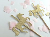 Wholesale custom wedding cupcake picks for sale - Group buy Custom personality Carousel horse Gold Cupcake Toppers magic Party Decorations picks Birthday wedding bridal baby shower
