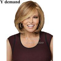 perruques élégantes pour femmes achat en gros de-Mode Élégant Femmes Perruques Résistant À La Chaleur Synthétique Bobo Doré brun Court Droite Cheveux Perruque En Stock