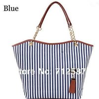 Wholesale Drop Shoulders - Hot Sale-holiday sale bags Handbags fashion women Stripe Street Snap Candid Tote Canvas Shoulder Bag drop shipping #5361