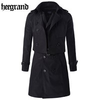 Wholesale Long Trench Coat Men Pieces - Wholesale- HEE GRAND 2017 New Large Size Solid Casual Two-piece Trench Double Breasted Fashion Casual Coat MWF323