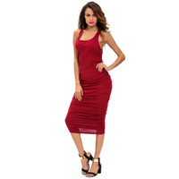 Wholesale Hot Slim Tight Dress - Hot sale Pencil skirt round neck sleeveless hollow fold racing vest tight club Slim dress ZY20