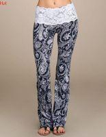 Wholesale Elegant High Waist Trousers - Elegant Summer Boho Hippie Women Trousers High Elastic Waist Lace Pants Floral Printed Casual Trousers Long Pants Black White SV030309
