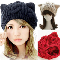 Wholesale Korean Cap For Lady - Fashion Beanie Korean for Women Lady Devil Horns Cat Ear Crochet Knit Ski Beanie Wool Hat Cap Winter Warm Beret Outdoor DHL Free
