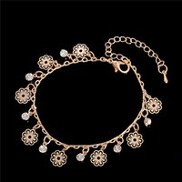 Wholesale Crochet Tin - 2016 Flower Pendant Anklets Barefoot Crochet Sandals Foot Jewelry Anklets Ankle Bracelets For Women Leg Chain chaine cheville