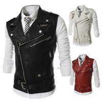 Wholesale Leather Slim Fit Waistcoat - Wholesale- Fashion Brand Men's Slim Fit Vests Quality PU Leather Turndown Collar Waistcoat Side Zipper Design Motorcycle Vest Men Clothing