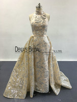 Wholesale Sequin Organza Tulle Dress - 2017 Blingbling Prom Dresses High Neck Silver Sequins Appliqued Nude Champagne Evening Gowns with Detachable Overskirt Real Pageant Dresses