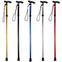 Wholesale Wood Walking - Wholesale- New Design Adjustable Aluminum Alloy Metal Folding Cane Walking Sticks Adjustable Height and Non Slip Rubber Base Walking Stick