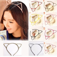Wholesale Sexy Self Photo - Women Lady Girls Cat Ears Headband Hair Sexy Head Band Self Photo Prop 6 Colors hair accessories free shipping