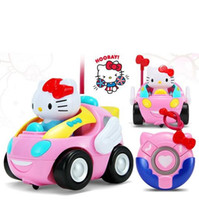 Wholesale Children RC Toy Hello Kitty KT Cat Remote Control Car Doraemon Pink Electronic Music Light up Cute Funny Kids Gift