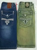 mens denim shorts tamanho 42 venda por atacado-New Mens Robin Rock Calças de Brim Revival designer de Alta qualidade Robin Cristal Studs Denim na altura do joelho Calças Calças de Brim para Homens tamanho 32-42