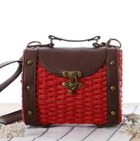 Wholesale Baroque Phone - wholesale brand package box fashion retro Baroque hand rivet leather woman straw collocation Beach Bag Shoulder Messenger summer straw bag