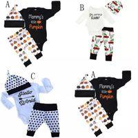 Wholesale christmas tree pants - Baby Xmas Halloween pumpkin outfits kids car Christmas tree print hat+romper+pants 3pcs set children cotton suits 3 Styles