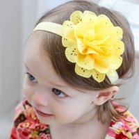 Wholesale Blue Green Baby Hair - hot baby headbands clips mesh hair band openwork mesh elastic band Tousheng lace flower re yellow pink blue green