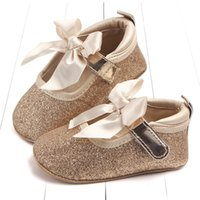 Neonato Scarpe Primi Camminatori Infant Toddler fiocchi paillettes PU in pelle Baby Girls Mocassini Scarpe morbide