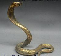 schwarzes kobra tier großhandel-21 cm China FengShui Messing Geschnitzte Cobra Naja atra Tierkreis-jahr Tier Schlange Statue
