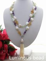 "Wholesale Keshi Pearl White - KE021206 Long 45"" White Coin Pearl Amethyst Citrine Prehnite Necklace FC120405 51'' Purple Keshi FC112207 44'' Pink Keshi Pearl Pink Rondell"