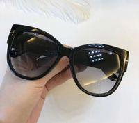 Wholesale Ft Men - Womens Cat Eye FT 0371 Sunglasses 01B Shiny Black Grey Smoke Gradient Lenes Brand Sunglasses With original Case