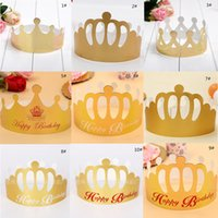 Wholesale Wholesale Kid Paper Hat - 2017 New Adjustable Paper Celebration Crown Shape Party Hat Birthday Cap Adult Kids Birthday Party Supplies