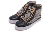 Wholesale Grey Background - Luxury Brand Red Bottom Sneakers black Suede with Spikes Casual Mens Womens Shoes Snakeskin background Silver nails Trainers Footwear
