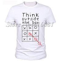Wholesale Custom Shipping Boxes Wholesale - Wholesale- Think out side the box Men letter quote t shirt 100% milk silk geek t-shirt Funny Custom t-shirt Free Shipping