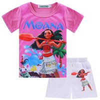 Girl outfit sport shirts - 3color Moana Girls Clothes Sets Summer Toddler Girls Clothing Moana T shirt Pant Outfit Kids Girls Sport Suit Children Clothing Sets XT
