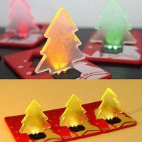Wholesale Wholesale Unique Gift Novelties - Portable Unique Design Folding Pocket Card LED Christmas Tree Night Light Lamp Bulb Novelty XMAS Gifts decor LED lights JF-495