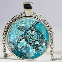 Wholesale Turtle Bags Wholesale - Sea Turtles necklace Bag Pendant Sea Turtle Cabochon Glass