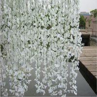 Wholesale Cherry Garland - Elegant White Wisteria Vine Wall Hanging Rattan Silk Cherry Blossom Garland for Wedding Bar Decoration Free Shipping