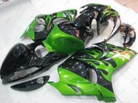 Wholesale Green Flame Fairings Kit Gsxr - Plastic Fairings for Suzuki GSXR1300 2011 Full Body Kits GSXR 1300 12 13 Black Green Flame Bodywork Gsx 1300R 2014 2008 - 2014